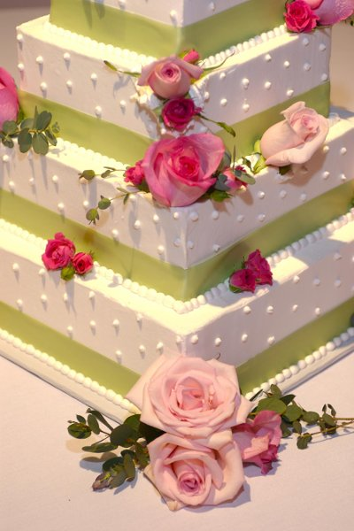 Gorgeous square cake with sage ribbon and pink roses.jpg
